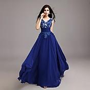 Corte en A Joya Hasta el Suelo Raso Evento Formal Vestido con Apliques por TS Couture®