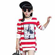 Camiseta Chica de-Casual/Diario-A Rayas-Algodón-Primavera / Otoño-Negro / Morado / Rojo