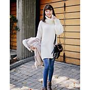 Mujer Largo Pullover Casual/Diario Simple,Un Color Blanco Cuello Alto Manga Larga Acrílico Otoño Invierno Medio Microelástico