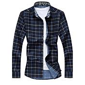 男性用 チェック カジュアル / プラスサイズ シャツ,長袖 コットン / ポリエステル ブルー / レッド