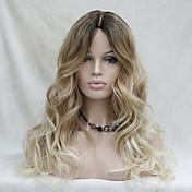 Mujer Pelucas sintéticas Encaje Frontal Largo Ondulado Rubio Raya en medio Pelo Ombre Raíces oscuras Entradas Naturales Peluca natural