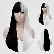 女性 人工毛ウィッグ キャップレス ロング丈 ストレート ブラック/ホワイト バング付き キャップレスウィッグ ハロウィンウィッグ カーニバルウィッグ コスチュームウィッグ
