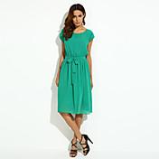 Ženski Jednostavno Izlasci Plus veličine / Šifon / Swing kroj Haljina,Jednobojni Bez rukávů Okrugli izrez Midi Crna / Zelena Poliester