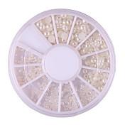 velikost smíšené manikúra perlou perlou bílá perla půlkruhu