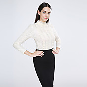 Mujer Simple Casual/Diario Primavera Blusa,Escote Chino Un Color Manga Larga Algodón / Licra Beige Opaco