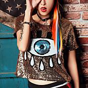 De las mujeres Punk & Gótico Noche / Discoteca Primavera / Verano Camiseta,Escote Redondo A Lunares / Estampado Manga Corta Poliéster