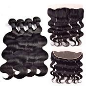Trama del pelo con cierre Cabello Hindú Ondulado Grande 4 Piezas los tejidos de pelo