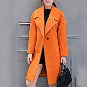Mujer Bonito / Chic de Calle Tallas Grandes / Vacaciones Un Color Abrigo,Solapa de Pico Manga Larga Otoño / Invierno Poliéster Naranja