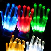 1 par de iluminación LED se iluminan los guantes de los guantes de esqueleto de colores para las decoraciones del partido que bailan