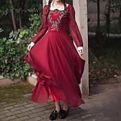 Mujer Corte Swing Vestido Casual/Diario Vintage,Un Color Jacquard Cuello de Peter Pan Maxi Manga Larga Primavera Otoño Invierno Tiro Medio