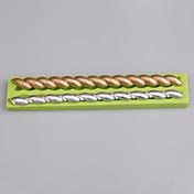 2 molde de silicone de forma de tira de cavidade para ferramentas de decoração de bolo de fondant cor aleatória