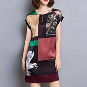 Mujer Recto Vestido Casual/Diario Tallas Grandes Simple,Estampado Escote Redondo Mini Manga Corta Seda Verano Tiro Medio Microelástico
