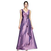 Linha A Decote V Longo Tafetá Evento Formal Vestido com Broche de Cristal Pregas de TS Couture®