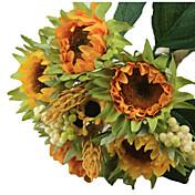 1 bouquet/Set 5 Rama Seda / Plástico Girasoles Flor de Mesa Flores Artificiales 3.3 inch X 10 inch