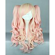 ピンク混合かつらかわいいロリータウィッグゴシックロリータピンクのかつらポニーテール姫のコスプレ長い波状のかつら