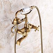ruční sprcha součástí s keramickým ventilem dva úchyty dva otvory pro antické mosazi, sprchová baterie / vana kohoutek