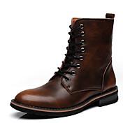 Hombre-Tacón Plano-Confort Botas de Equitación Botas a la Moda-Botas-Exterior Informal-Cuero-Marrón Gris Bermellón