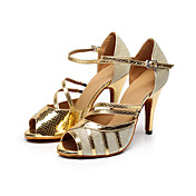 Zapatos de baile(Negro / Oro) -Latino / Salsa-Personalizables-Tacón Personalizado