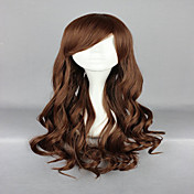 70 cm světle hnědá cosplay paruka lolita zip klasický vlnité dlouhé kudrnaté kostým strana paruka