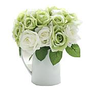 9pcs/Set 9 Rama Seda Rosas Flor de Mesa Flores Artificiales 9.5 inch