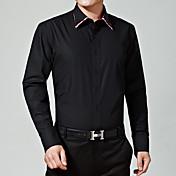 男性 カジュアル/普段着 / フォーマル 春 / 冬 シャツ,シンプル レギュラーカラー ソリッド ブラック コットン 長袖 ミディアム