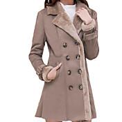 女性 プラスサイズ 冬 ソリッド ファーコート,シンプル シャツカラー ブラウン ウール 長袖 厚手