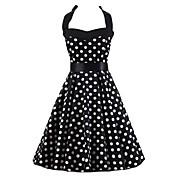 Mujer Línea A / Negro y Blanco / Corte Skater Vestido Noche Vintage / Bonito,A Lunares Halter Hasta la Rodilla Sin Mangas Negro Algodón