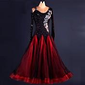 Baile de Salón Vestidos Representación Espándex Organdí Encaje Drapeado 1 Pieza Mangas largas Cintura Alta Vestido