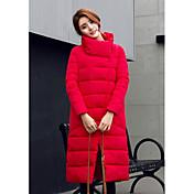 コート ロング ダウン 女性,カジュアル/普段着 / プラスサイズ ソリッド コットン ホワイトダックダウン-シンプル 長袖 レッド