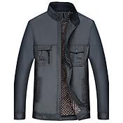 男性 カジュアル/普段着 冬 ソリッド コート,シンプル スタンド ブルー / グレイ コットン 長袖 厚手