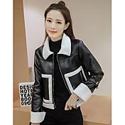女性 カジュアル/普段着 ソリッド レザージャケット,シンプル ブラック ポリウレタン 長袖
