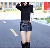 Dámské Bodycon Jednobarevné Sukně-Sexy Běžné/Denní-Nad kolena Low Rise Zip Poliester Mikroelastické podzim