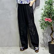 firmar los pantalones ocasionales de estilo étnico de algodón bordado sólido de color oscuros
