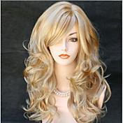 Mujer Pelucas sintéticas Sin Tapa Largo Ondulado Grande Rubio dorado Parte lateral Con flequillo Peluca natural Las pelucas del traje