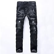 男性 ストレート プラスサイズ ジーンズ パンツ,カジュアル/普段着 ビンテージ / ストリートファッション ゼブラプリント 引き裂かれました ミッドライズ ジッパ- コットン マイクロ弾性 All Seasons
