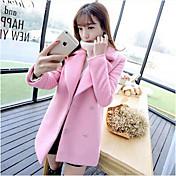 女性 カジュアル/普段着 冬 ソリッド コート,シンプル ピンク ポリエステル 長袖