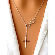 Mujer Collares con colgantes Y-Collares Forma de Cruz infinito Plateado Chapado en Oro Legierung Diseño Básico Ajustable Estilo Simple
