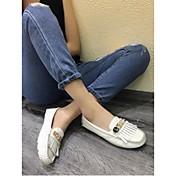 MujerMocasín-Zapatos de taco bajo y Slip-Ons-Casual-Cuero-Negro / Blanco