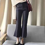 Mujer Corte Ancho Chinos Pantalones,Un Color Casual/Diario Sencillo Tiro Medio Botón Algodón Micro-elástica Otoño / Invierno