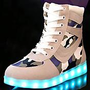Mujer Zapatillas de deporte Confort Innovador Zapatos con luz Otoño Invierno Ante Casual Con Cordón Tacón Plano Negro Gris Plano