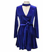 Mujer Línea A Vestido Casual/Diario Simple,Un Color Escote en V Profunda Sobre la rodilla Manga Larga Azul Rayón Otoño Tiro Medio Rígido