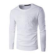 Muži Jednoduché Běžné/Denní / Sportovní / Velké velikosti Standardní Mikiny s kapucí Jednobarevné / Zvířecí potisk,Modrá / Bílá / Černá
