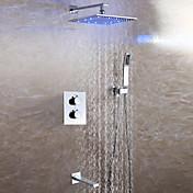 現代風 壁式 LED / サーモスタットタイプ / ハンドシャワーは含まれている with  セラミックバルブ 二つのハンドル4つの穴 for  クロム , シャワー水栓