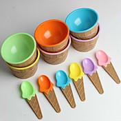 de los niños de plástico de helado cuencos cucharas establecen duradera taza de helado (color al azar)