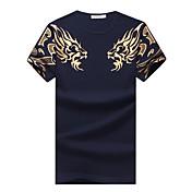 メンズ カジュアル/普段着 プラスサイズ 夏 Tシャツ,シンプル ラウンドネック アニマルプリント コットン スパンデックス 半袖 ミディアム