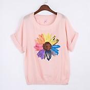Mujer Simple Noche / Casual/Diario Verano Camiseta,Escote Redondo Floral Manga Corta Algodón Rosa / Rojo / Blanco Medio