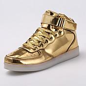 Tênis-Conforto Inovador Light Up Shoes-Rasteiro-Prateado Dourado-Couro Ecológico-Ar-Livre Casual Para Esporte