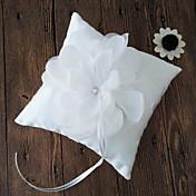 ホワイト 1 リボン ラインストーン 花びら サテン