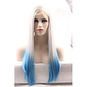 女性 ブルー ストレート ナチュラルヘアライン 合成 フロントレース ナチュラルウィッグ
