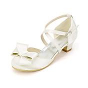 Chica Tacones Zapatos para niña florista Seda Primavera Verano Otoño Boda Fiesta y Noche Zapatos para niña florista PajaritaTacón Bajo